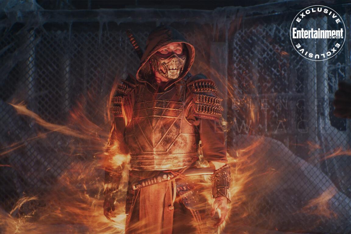 Hiroyuki Sanada as Scorpion surrounded by energy in Mortal Kombat.