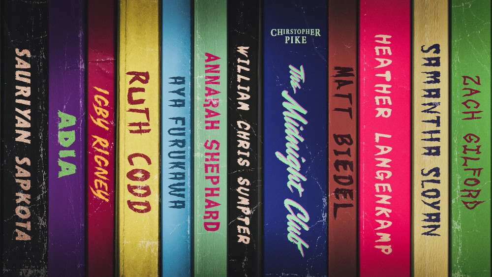 The cast of The Midnight Club written on book spines.