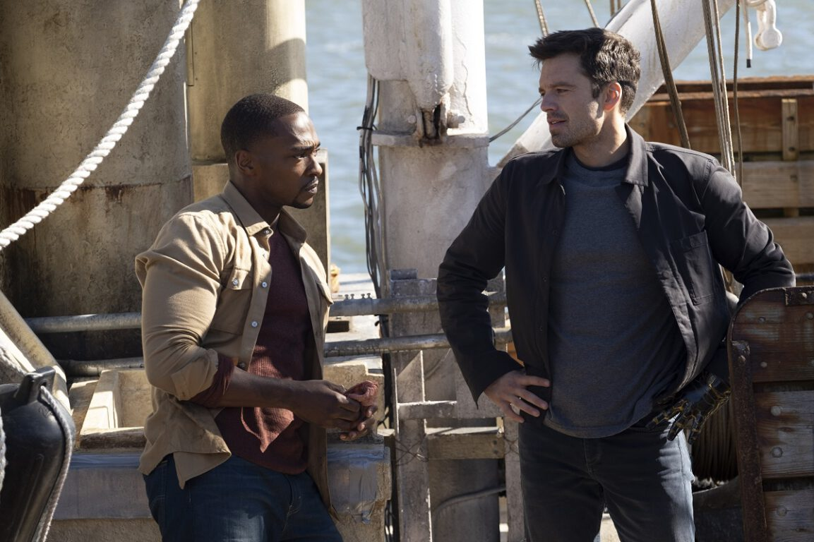 Still of Anthony Mackie as Sam Wilson and Sebastian Stan as Bucky Barnes.