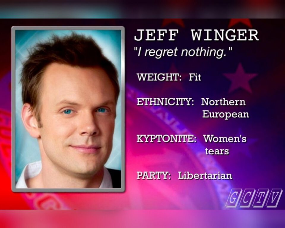 """Still of Joel McHale as Jeff Winger in Community episode """"Intro to Political Science."""""""
