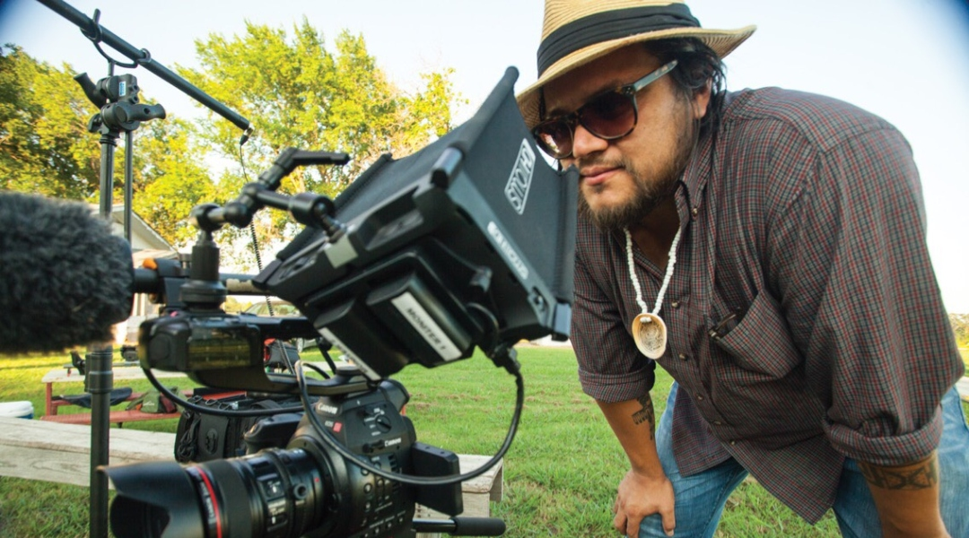 "Filmmaker Sterlin Harjo, shooting his documentary ""This May Be the Last Time.""."