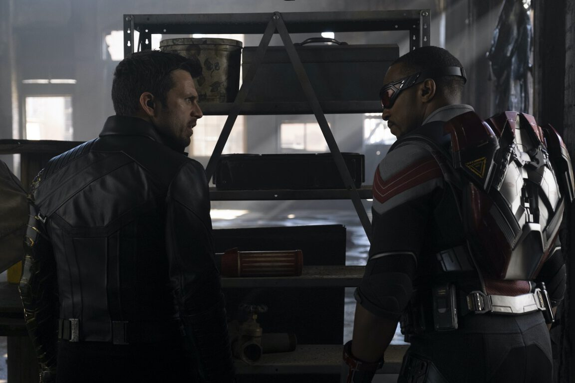 Still of Sebastian Stan and Anthony Mackie in The Falcon and the Winter Soldier.
