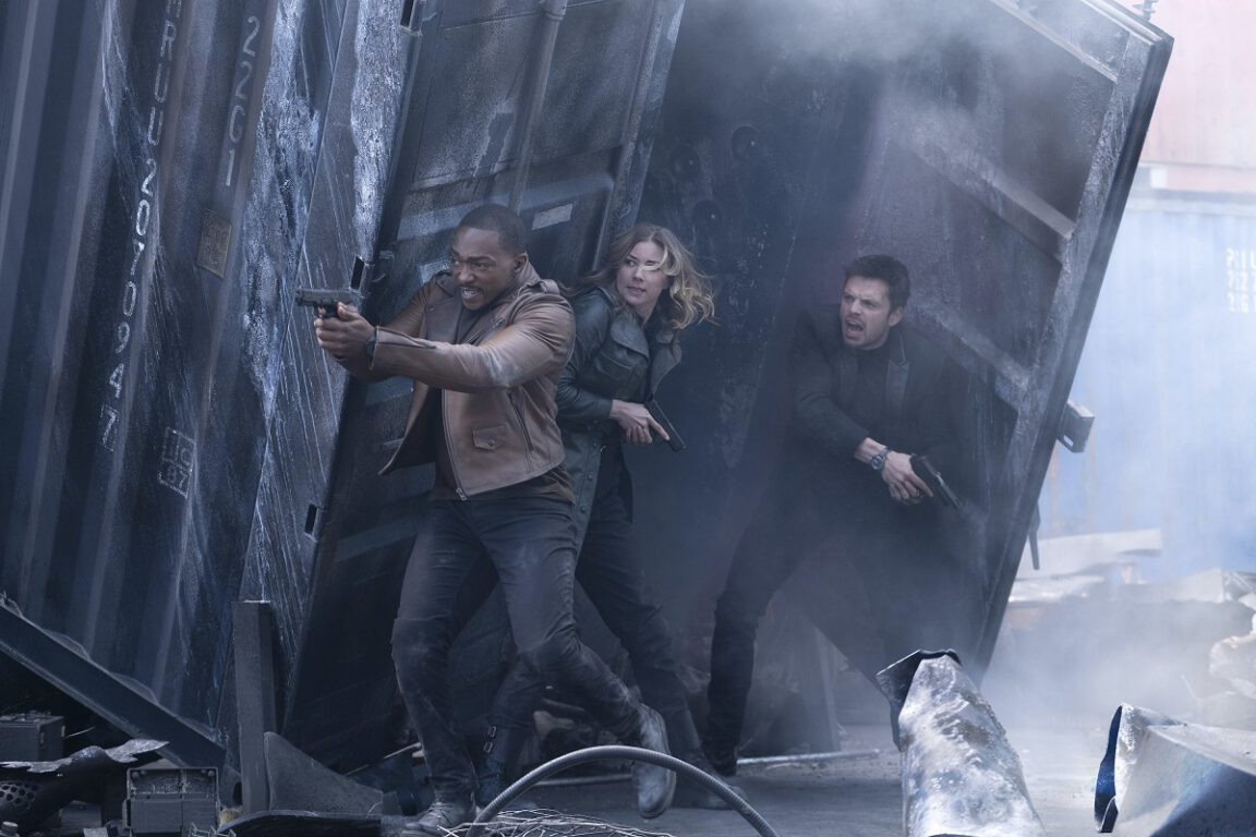 Still of Anthony Mackie, Emily VanCamp and Sebastian Stan in Disney Plus' The Falcon and the Winter Soldier.