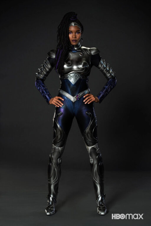 Blackfire's purple and black suit with silver and grey accents.