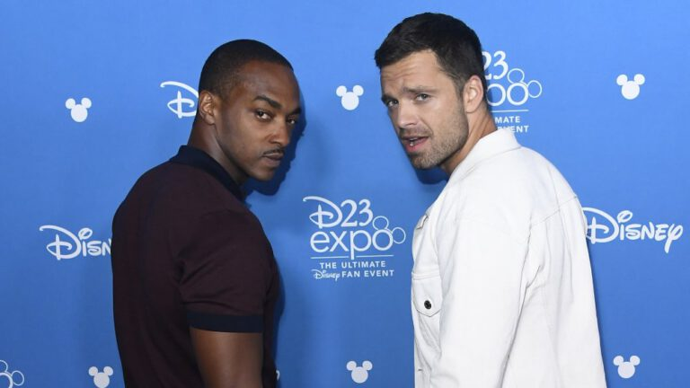 Photo of The Falcon and the Winter Soldier stars Anthony Mackie and Sebastian Stan at D23 Expo.