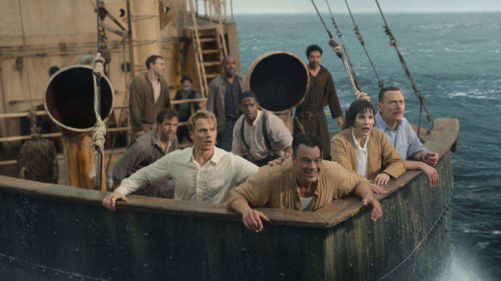 MATT LANTER as GEORGE HUTCHENCE, MIKE WADE as FITZ SMALL, JOSH DUHAMEL as SHELDON SAMPSON, LESLIE BIBB as GRACE SAMPSON, and BEN DANIELS as WALTER SAMPSON on a boat on the water.