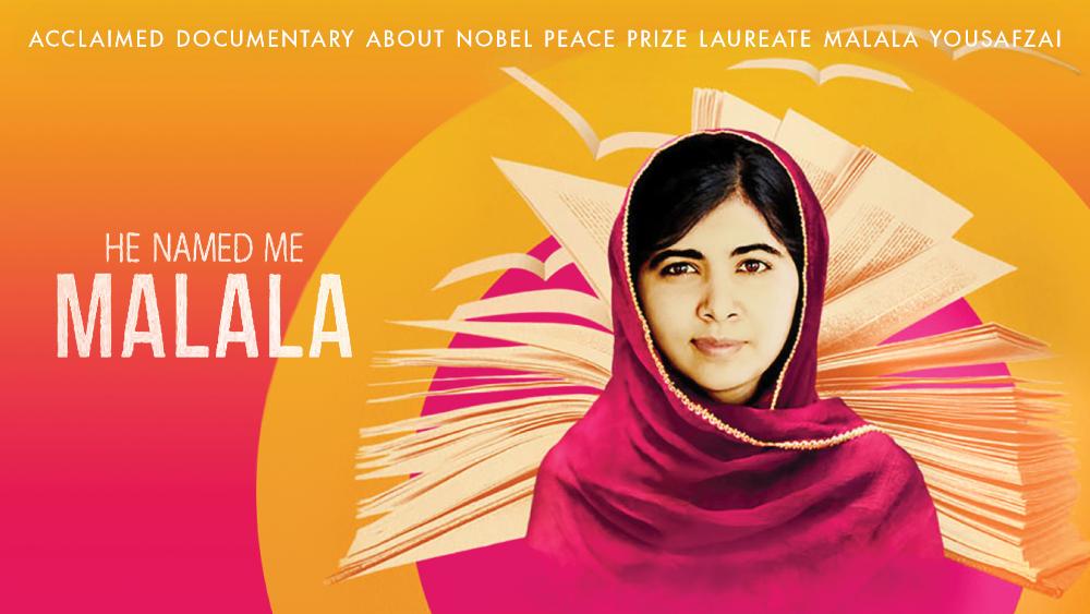 He Named Me Malala film art featuing Malala Yousafzai.