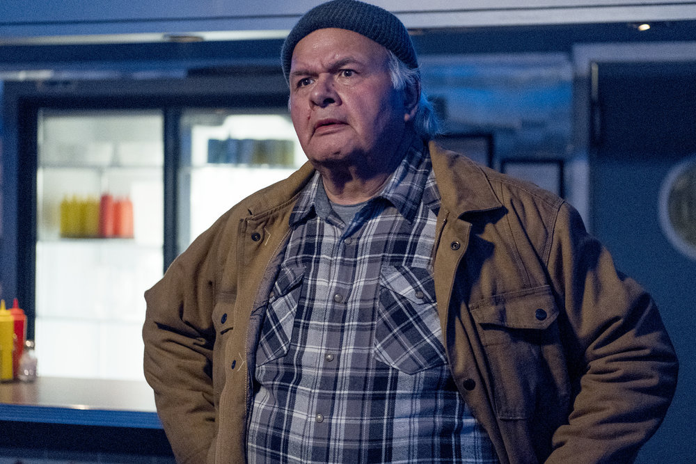"""Still of Gary Farmer in Resident Alien episode """"End of the World As We Know It."""""""