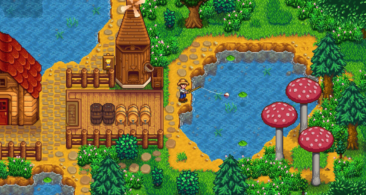 The player fishing next to his house in Stardew Valley.