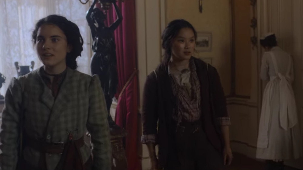 Jessie and Bea exploring their new quarters while at the Holmes Estate in The Irregulars.