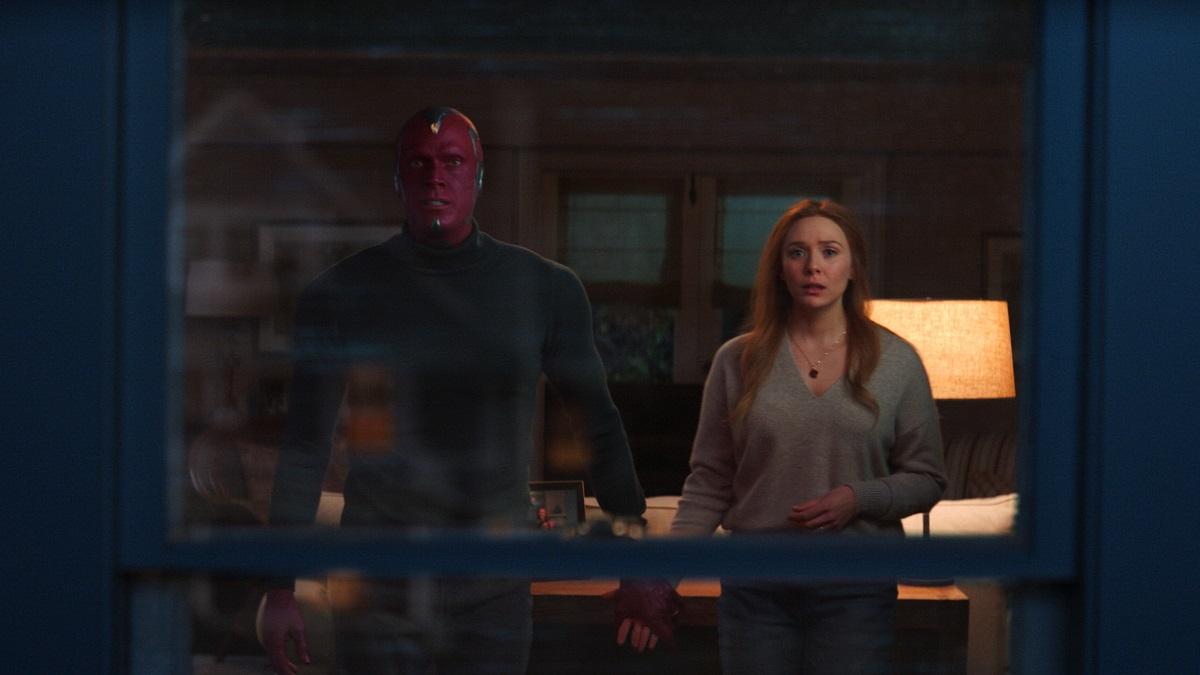 Still of Paul Bettany as Vision and Elizabeth Olsen as Wanda Maximoff in Marvel's WandaVision.