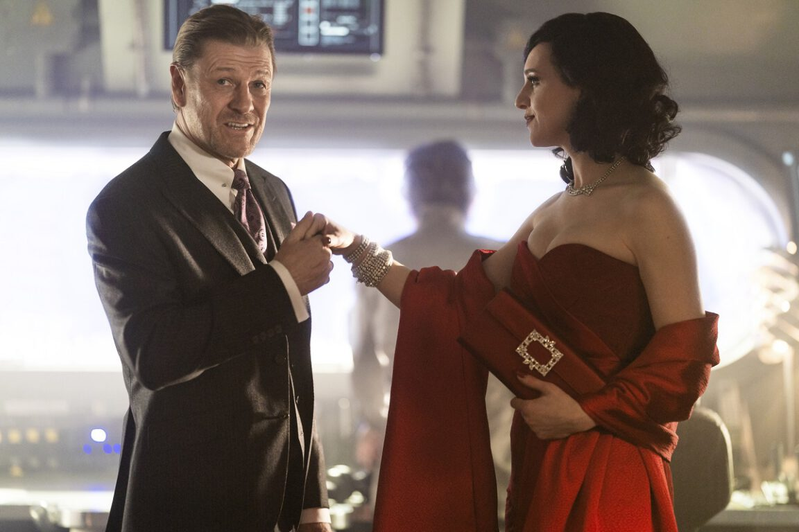 """Still of Sean Bean and Lena Hall in Snowpiercer episode """"Our Answer for Everything."""""""