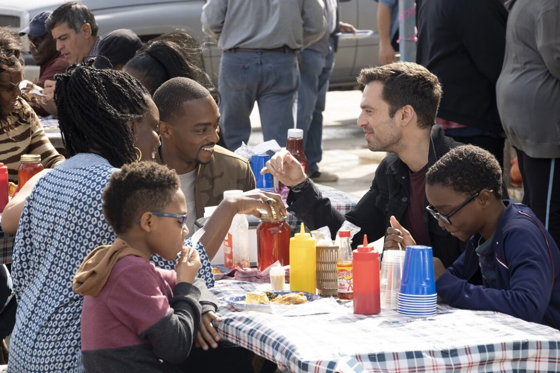 """Still of Adepero Oduye, Anthony Mackie, and Sebastian Stan in """"One World, One People."""""""