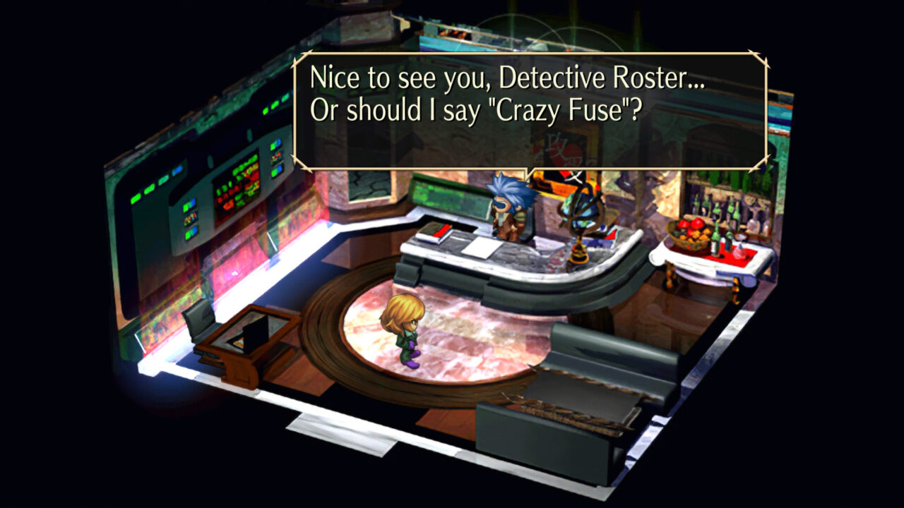 SaGa Frontier Remastered shot with Crazy Fuse (Detective Roster) meeting a mysterious man.