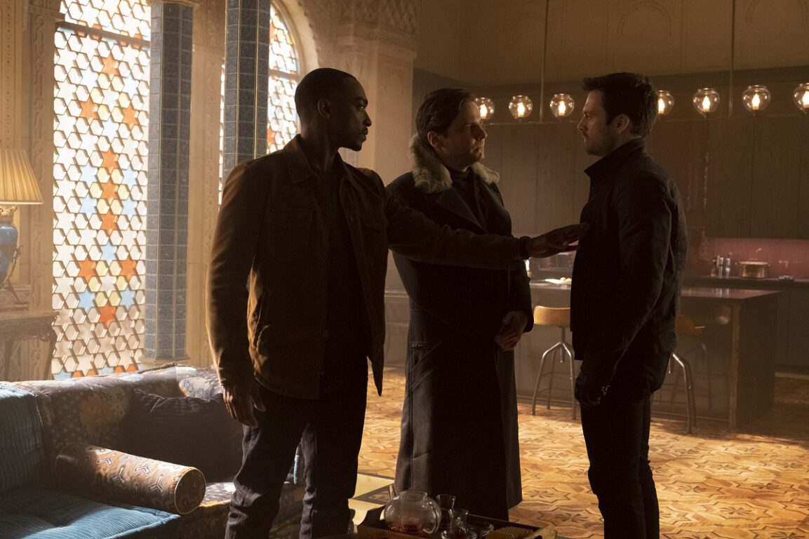 """Still of Anthony Mackie, Daniel Bruhl, and Sebastian Stan in The Falcon and the Winter Soldier episode """"The Whole World Is Watching."""""""