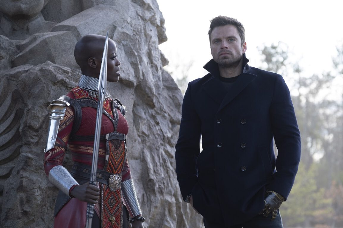 """Still of Florence Kasumba and Sebastian Stan in The Falcon and the Winter Soldier episode """"Truth."""""""