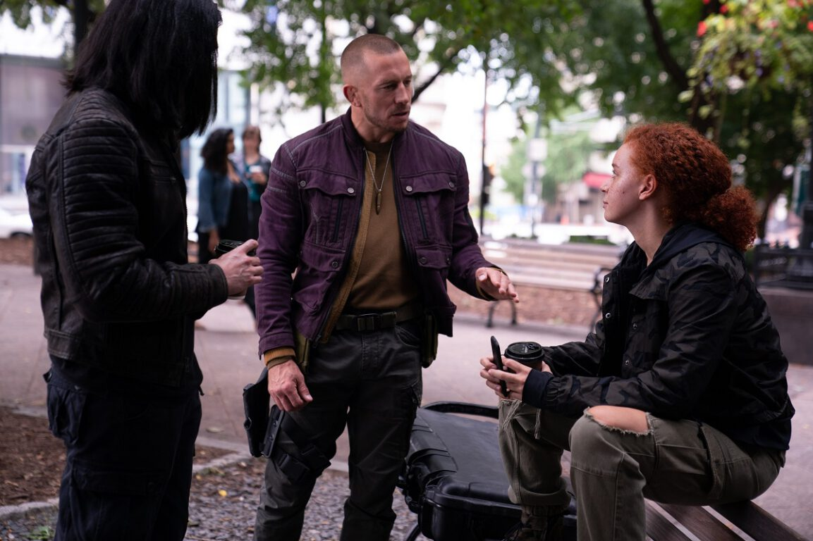 """Still of Desmond Chiam, Georges St-Pierre, and Erin Kellyman in The Falcon and the Winter Soldier episode """"Truth."""""""