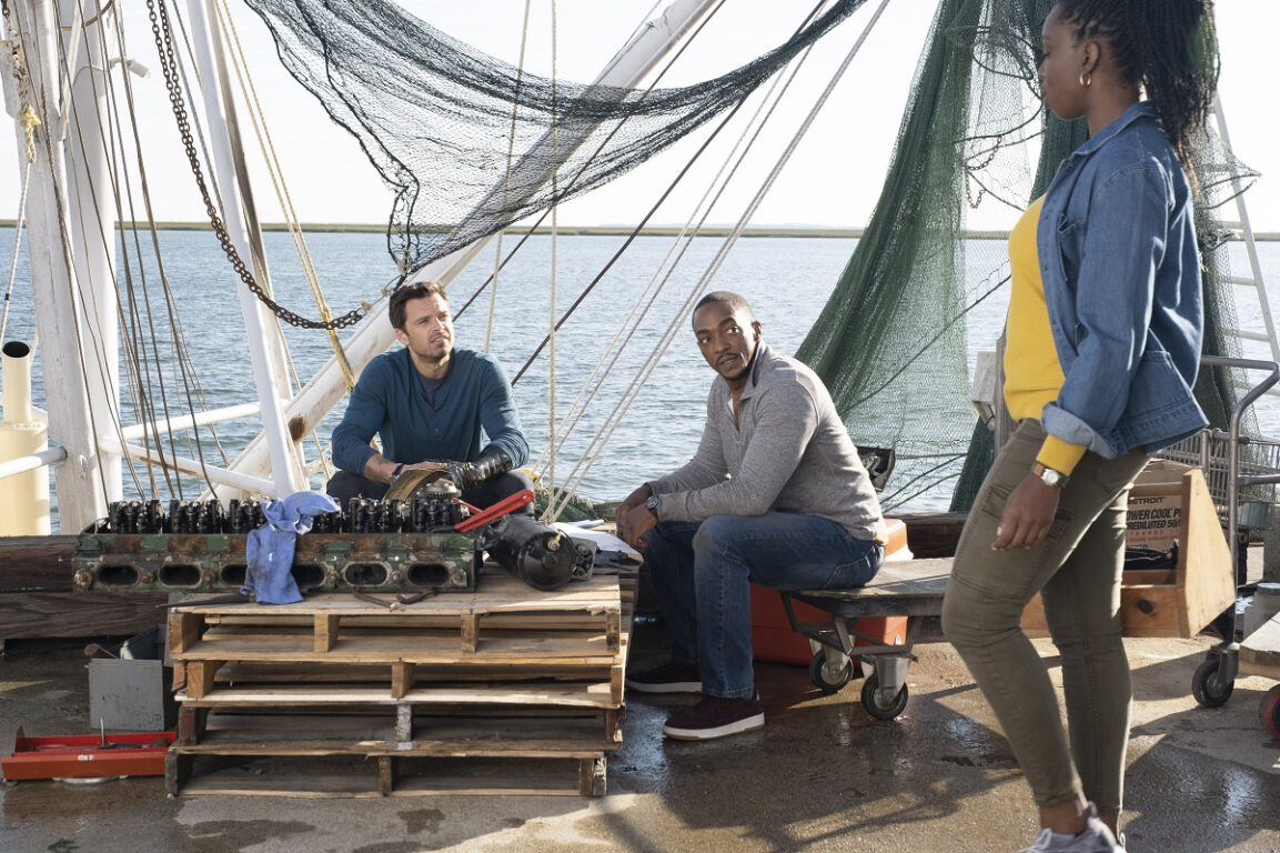 """Still of Sebastian Stan, Anthony Mackie, and Adepero Oduye in The Falcon and the Winter Soldier episode """"Truth."""""""