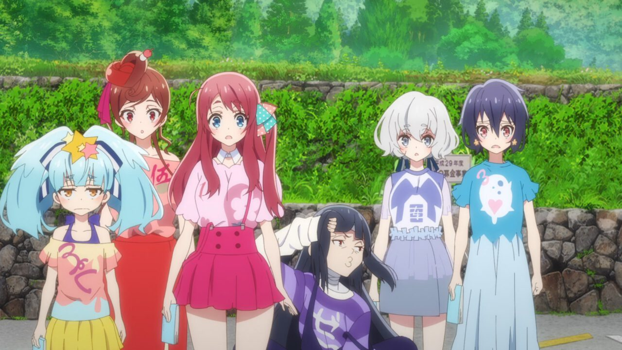 The girls of Franchouchou looking unimpressed (Zombie Land Saga Revenge, season 2, episode 2)