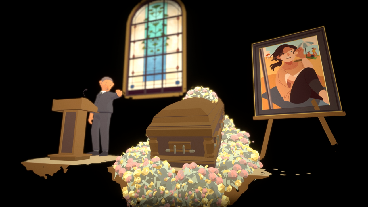 Before Your Eyes scene at a funeral with a casket and photo of the deceased.