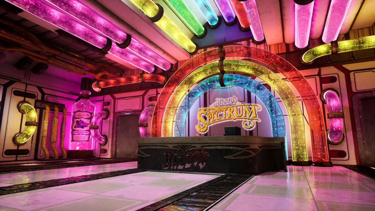The colorful interior of Rizzos Spectrum facility in Murder on Eridanos