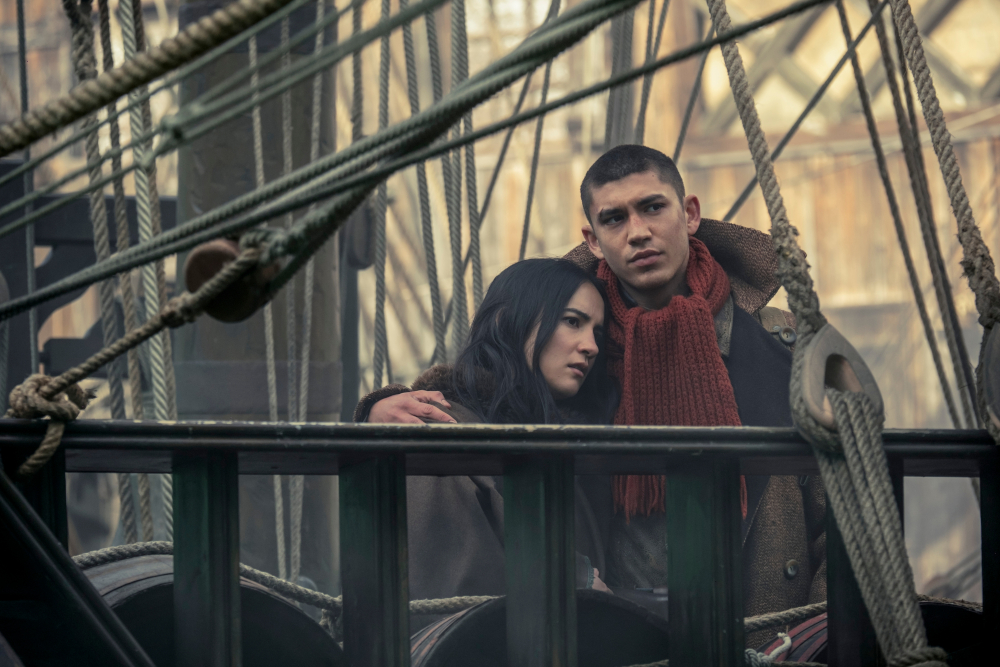 Alina and Mal on a ship bound for Ketterdam in Shadow and Bone.