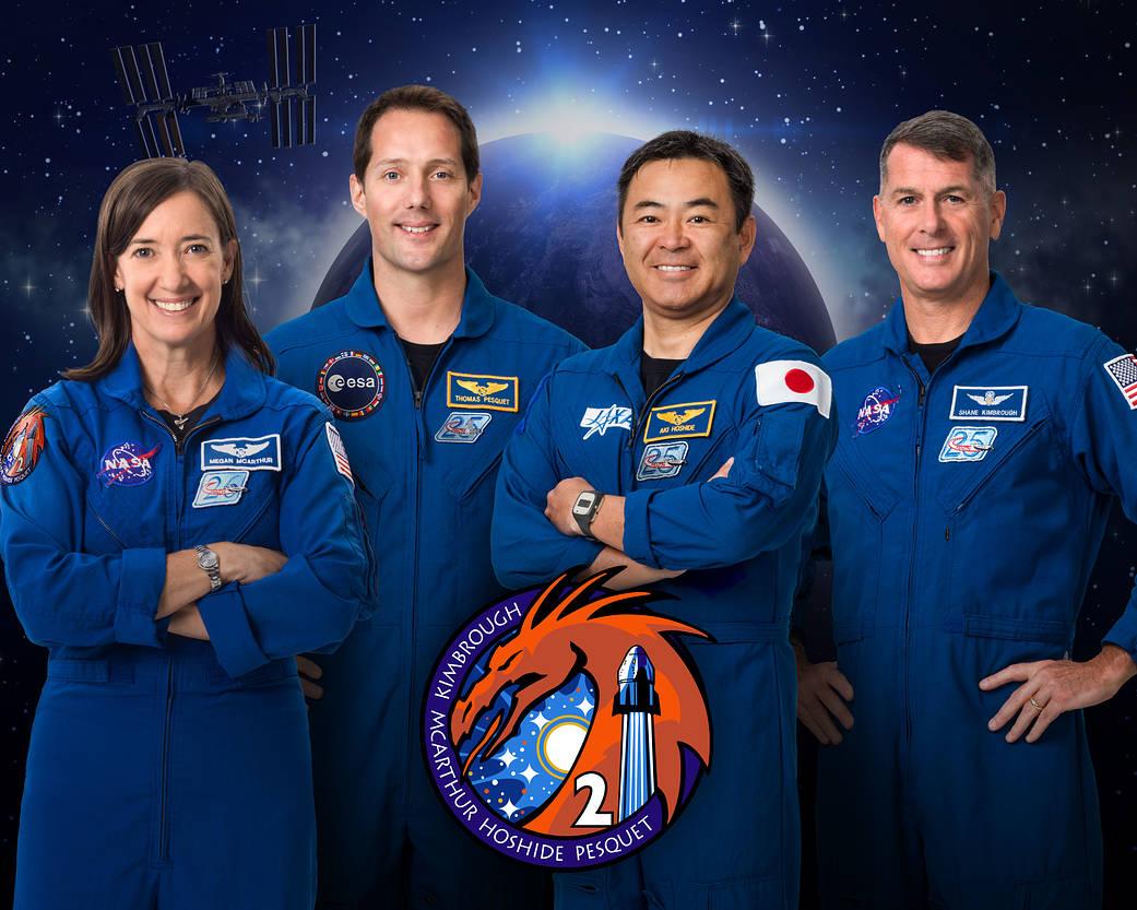 Official crew portrait for SpaceX Crew-2: NASA astronaut and Pilot Megan McArthur; European Space Agency (ESA) astronaut and Mission Specialist Thomas Pesquet; JAXA (Japan Aerospace Exploration Agency) astronaut and Mission Specialist Akihiko Hoshide; and NASA astronaut and Commander Shane Kimbrough
