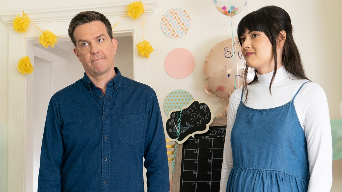 Still of Ed Helms and Patti Harrison in Bleecker Film's Together Together.