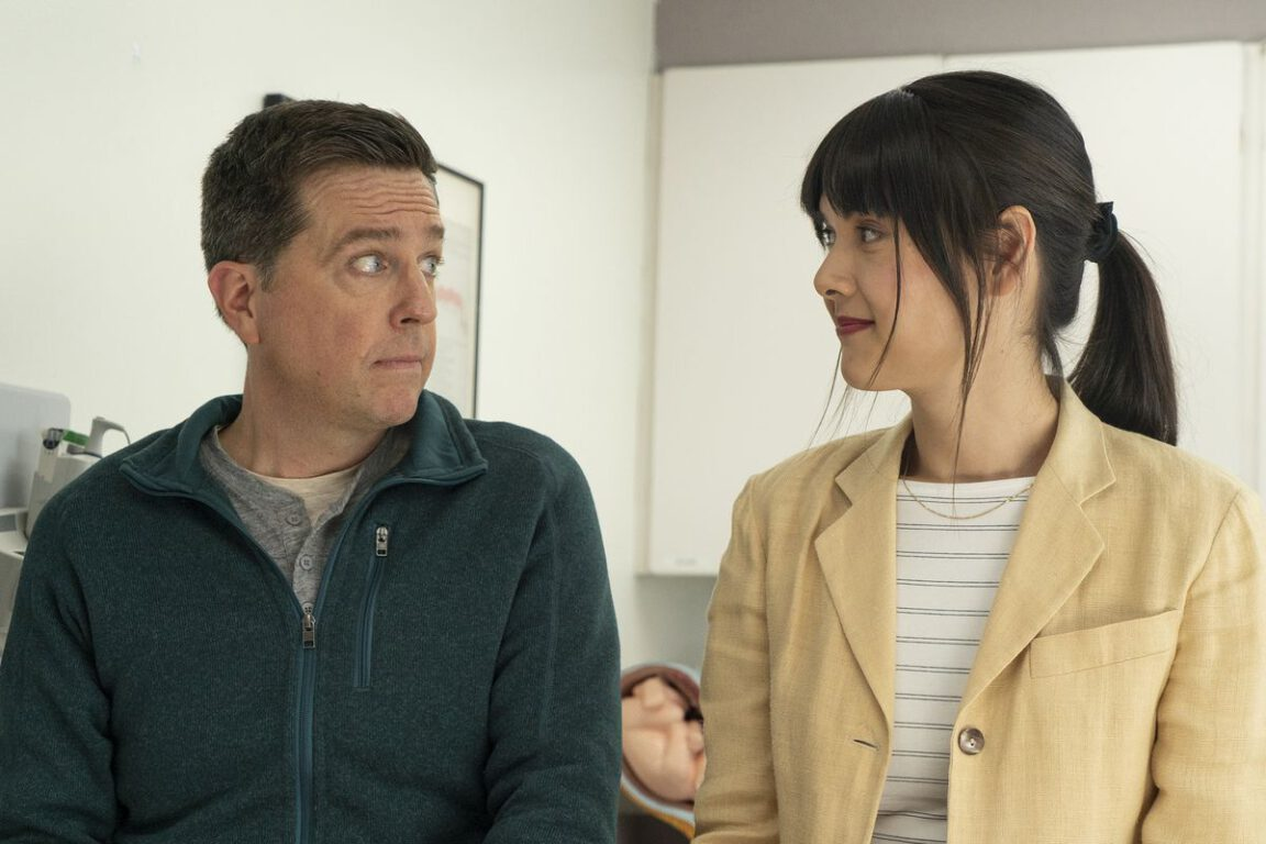 Still of Ed Helms and Patti Harrison in Bleecker Street Media's Together Together.