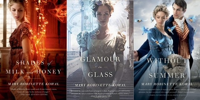 The covers of the first 3 books of The Glamourist Histories series