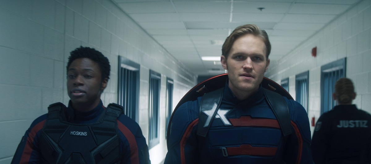 """Still of Cle Bennett and Wyatt Russell in The Falcon and the Winter Soldier episode """"Power Broker."""""""