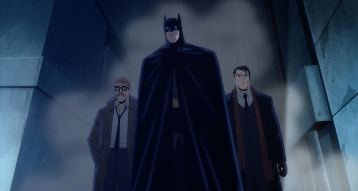 Shot of Batman, Gordon and Harvey Dent in Batman: The Long Halloween.