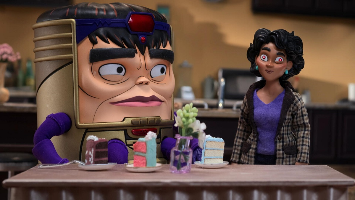 Image of M.O.D.O.K., voiced by Patton Oswalt, and Jodie Tarleton, voiced by Aimee Garcia.