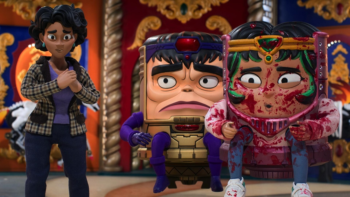 Image of Jodie Tarleton, voiced by Aimee Garcia, M.O.D.O.K., voiced by Patton Oswalt, and Melissa Tarleton, voiced by Melissa Fumero.