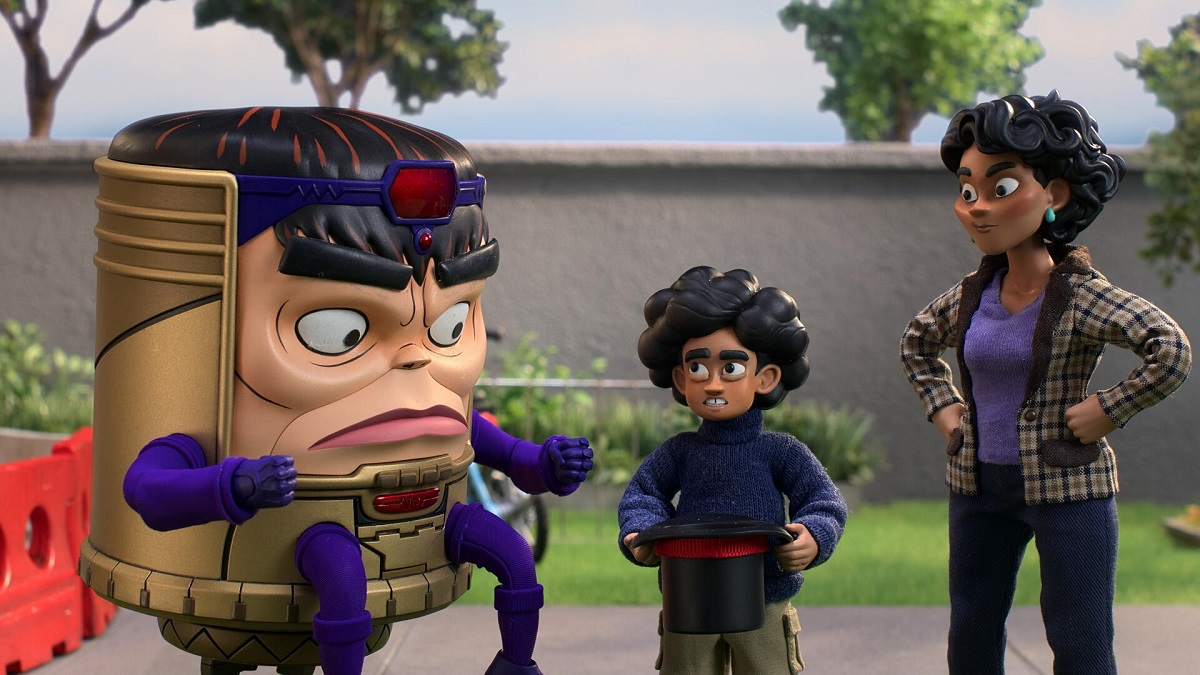 Image of M.O.D.O.K., voiced by Patton Oswalt, Lou Tarleton, voiced by Ben Schwartz, and Jodie Tarleton, voiced by Aimee Garcia.