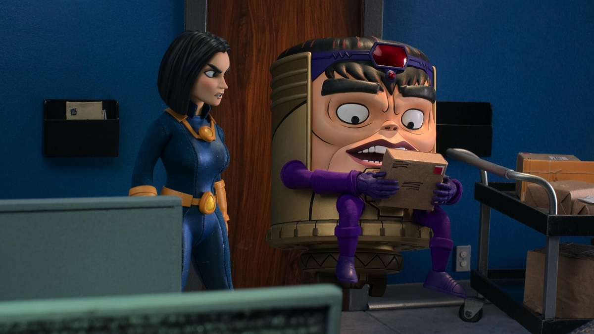 Image of Monica, voiced by Wendi McLendon-Covey, and M.O.D.O.K., voiced by Patton Oswalt.