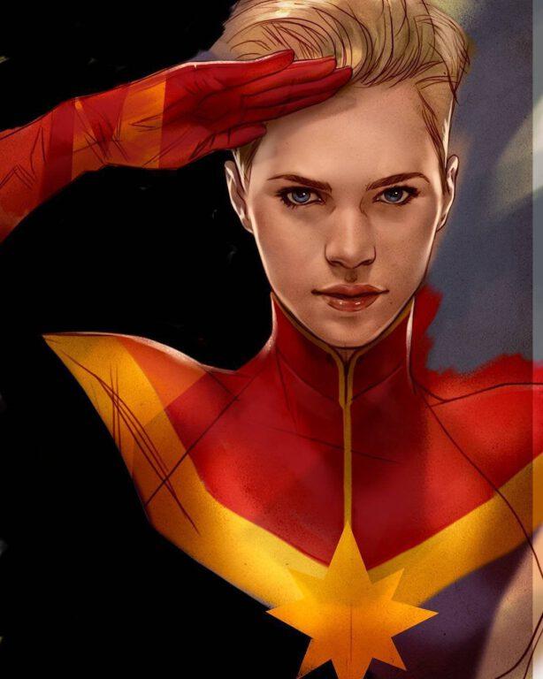 Captain Marvel saluting. Art by Marvel artist Ben Oliver.