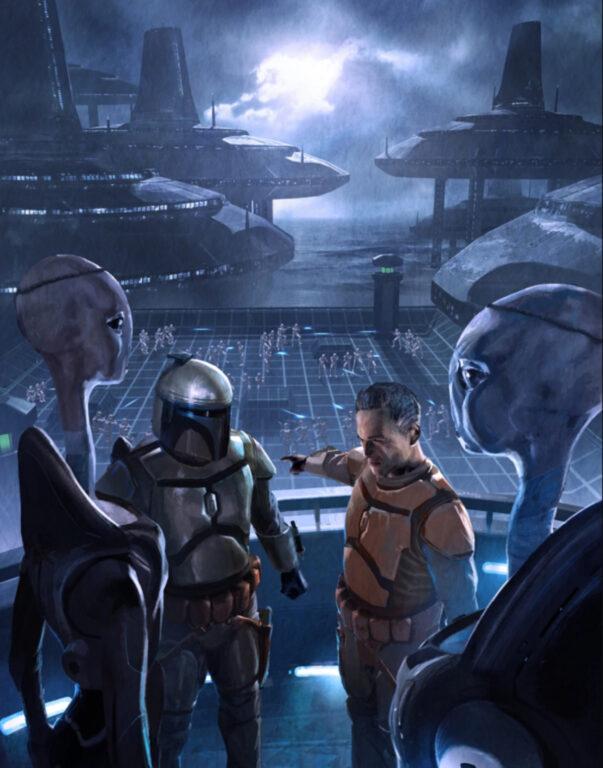 Jango Fett and his fellow mercenaries train the clone army. The Bad Batch.