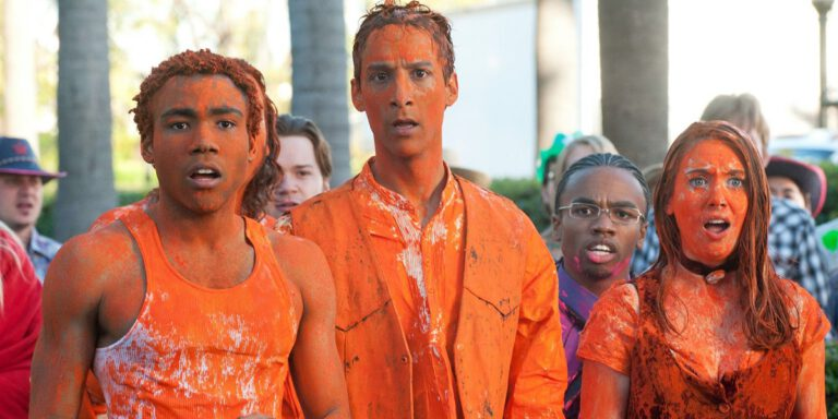 """Still of Donald Glover, Danny Pudi, and Alison Brie in the Community episode """"For a Few Paintballs More."""""""
