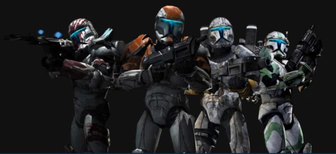 The clone commandos of Delta Squad: Sev, Boss, Scorch, and Fixer.