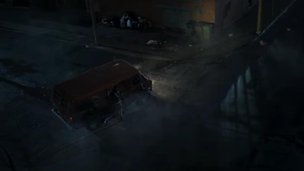 Chloe getting hit by Hutch's van in Jupiter's Legacy.