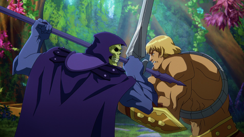 Skeletor and He-Man facing off in Masters of the Universe: Revelation.