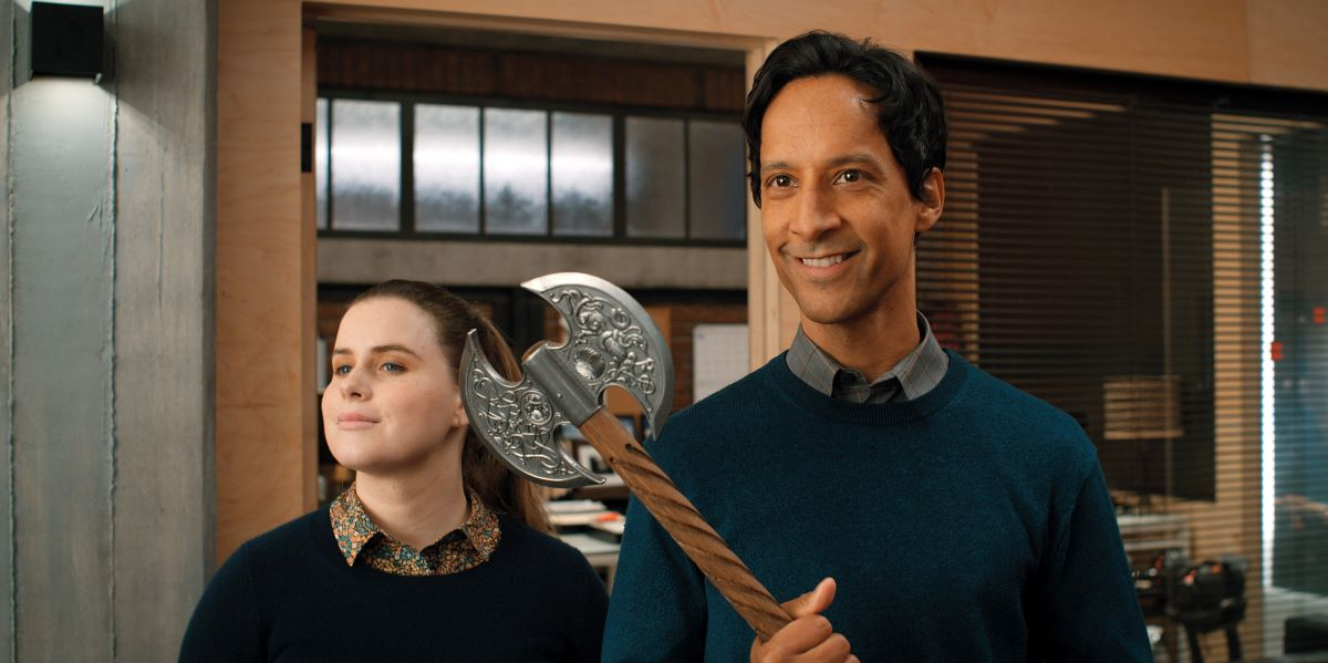 """Still of Jessie Ennis and Danny Pudi in Mythic Quest episode """"Breaking Brad."""""""