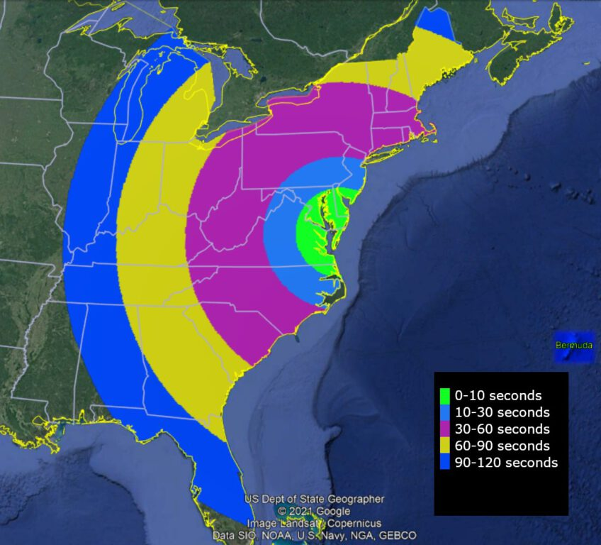 Map of the eastern United States of America with an overlay of when the KiNET-X mission launch may be visible. Image provided by NASA.