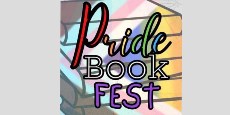 pride book fest logo over grey background