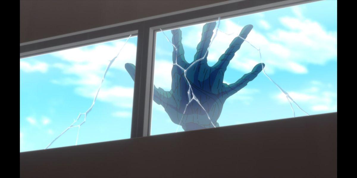 the kaiju's hand smashing the window (SSSS.DYNAZENON season 2 episode 8)