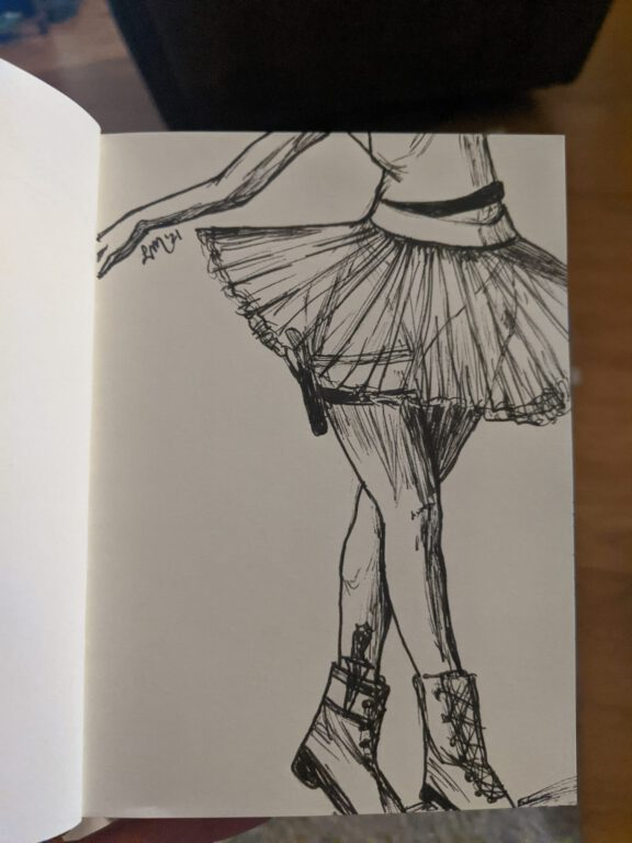 Sketch of Sophia Asa Solomon by Leslie McClellan. Sketch shows the lower half of a woman wearing combat boots with a tutu; she has a knife tucked into her boot and a pistol strapped to her thigh.