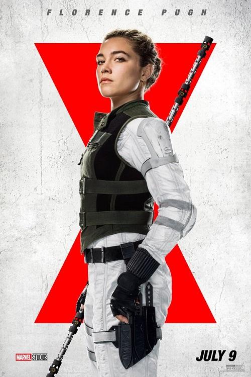 Poster of Florence Pugh as Yelena Belova in Marvel's Black Widow.