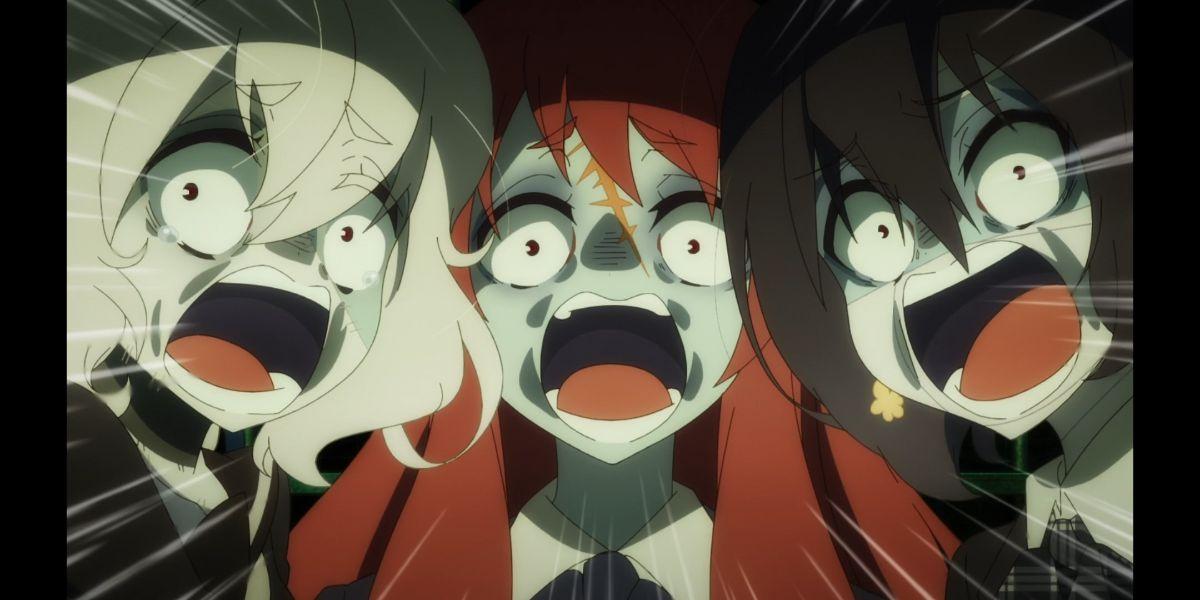 Junko Sakura and Ai screaming (Zombie Land Saga Revenge season 2 episode 7)