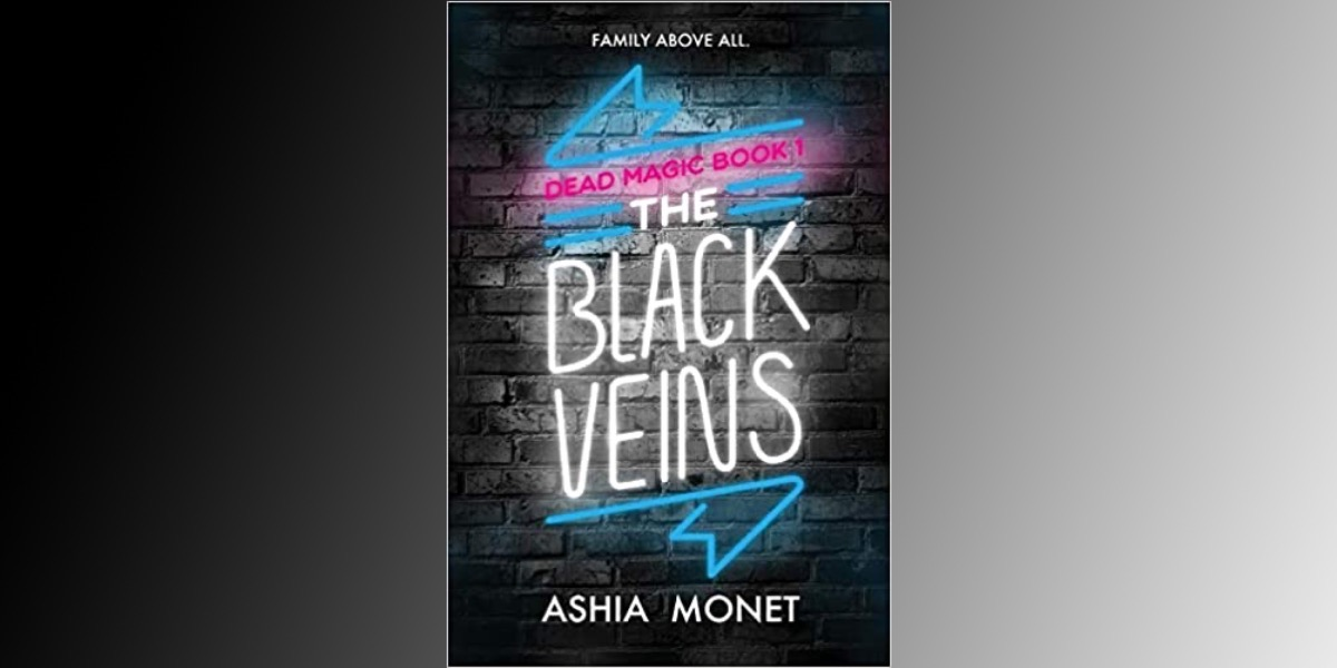 cover of black veins on gradient background